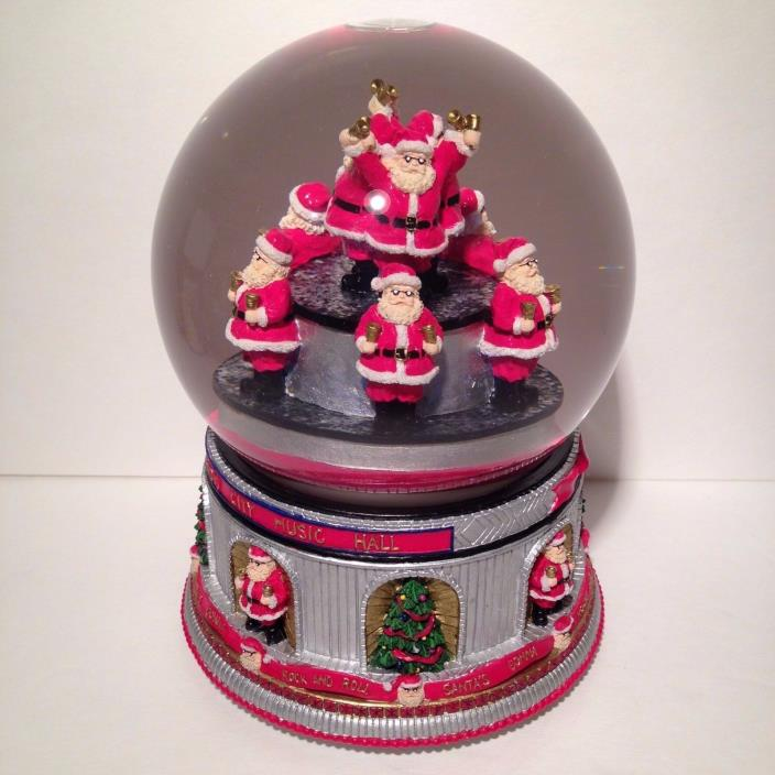 RADIO CITY MUSIC HALL MUSICAL CHRISTMAS SNOW GLOBE SANTAS GONNA ROCK AND ROLL