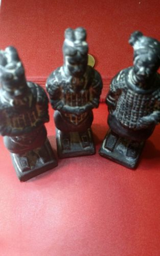 Amazing Lot of 3 Chinese Soldiers Terracotta 90x25x25 mm nice lot