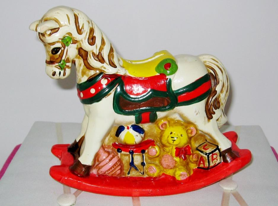 Vintage 1980 ENESCO Rocking Horse Coin Bank w/ Stopper VGC Christmas Décor