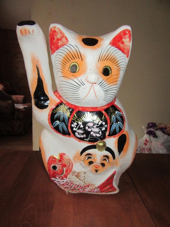 VINTAGE ORIENTAL PAPIER MACHE CAT  FIGURE