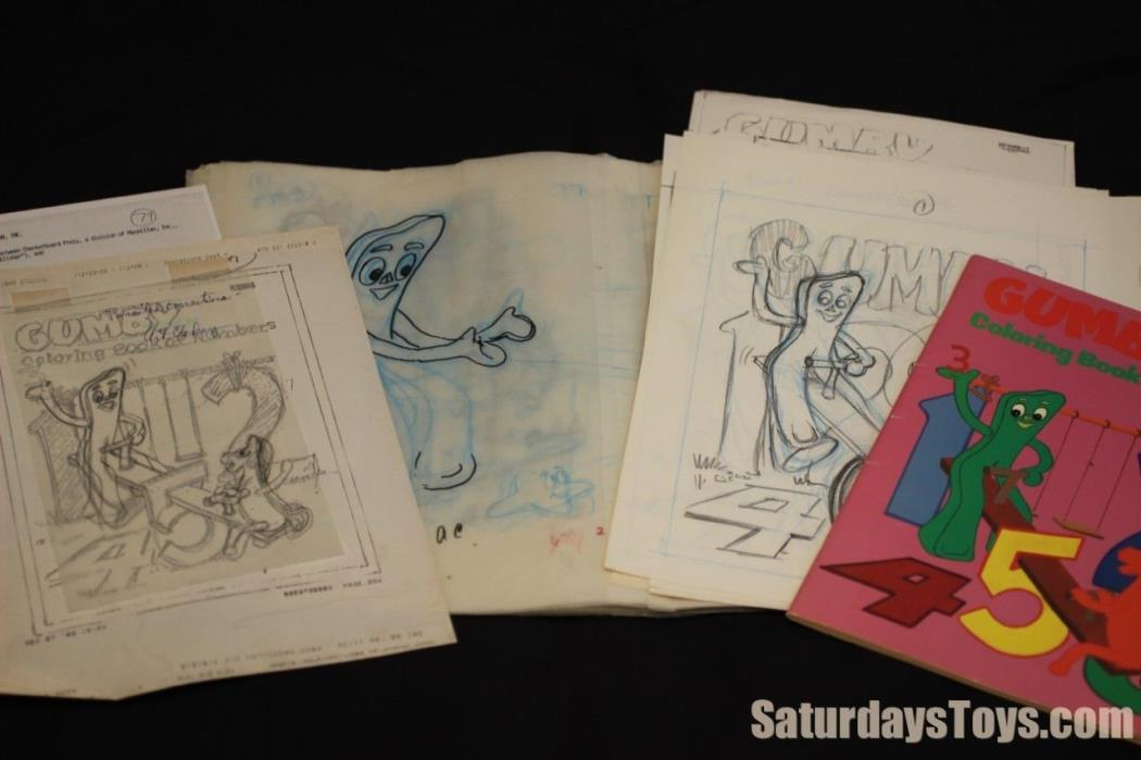 1989 Original GUMBY Coloring Book Illustration LOT by Roy Wilson & Art Clokey