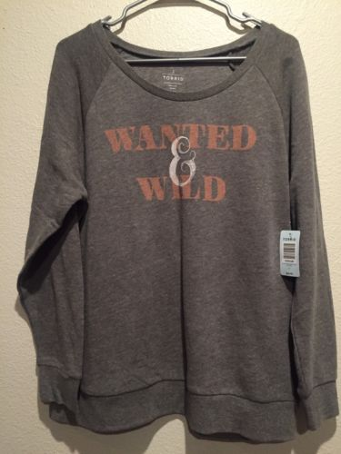 NWT TORRID ~ Womens Plus Size Size 2 18 20 Gray WANTED & WILD Sweatshirt