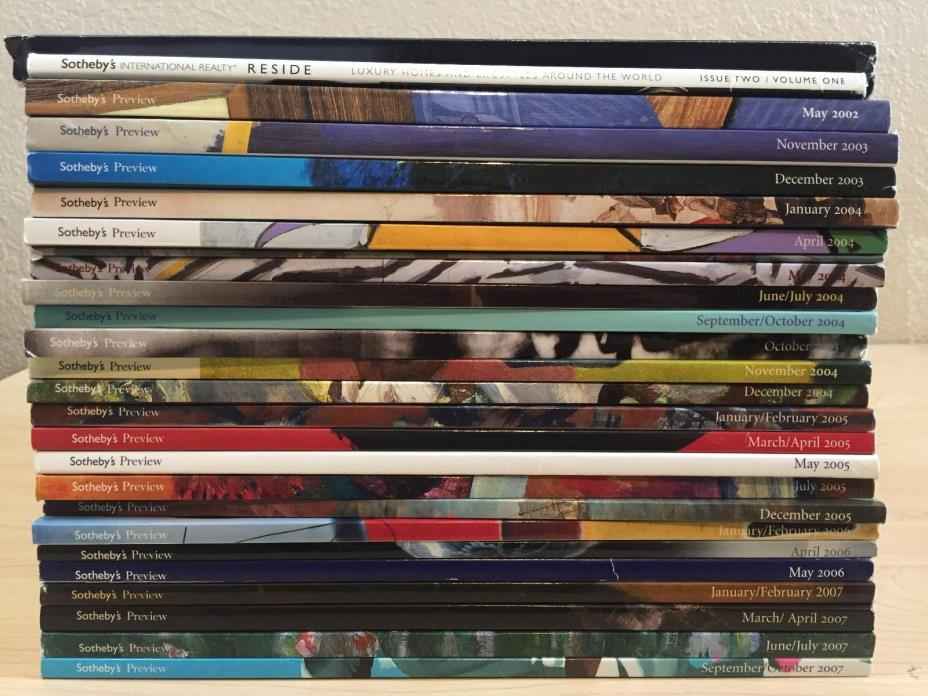 Lot of 25 - Sotheby's Preview Auction Catalog May 2002 - October 2007