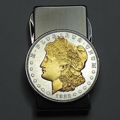 Combination Money Clip, 24k Gold & Silver 1921 Morgan Silver Dollar