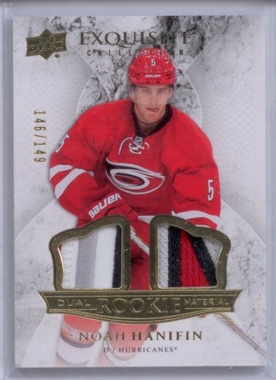 Noah Hanifin 2015 Upper Deck Exquisite Rookies Dual Material PATCH 146 OF 149
