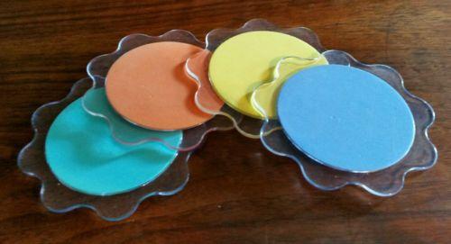 Set of 4 Vintage Mid Century Modern Lucite Coasters Grips Scalloped Edges Multi