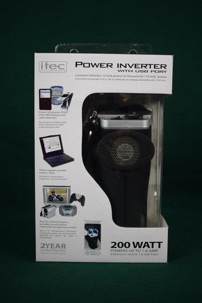 itec 200 Watt Vehicle Power Inverter - Item T2022 - NEW IN BOX