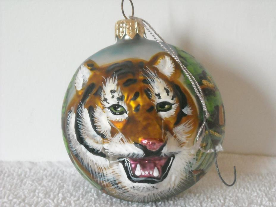 Bengal Tiger Hand Blown Hand Painted 3D Glass Christmas Ornament Beautiful!