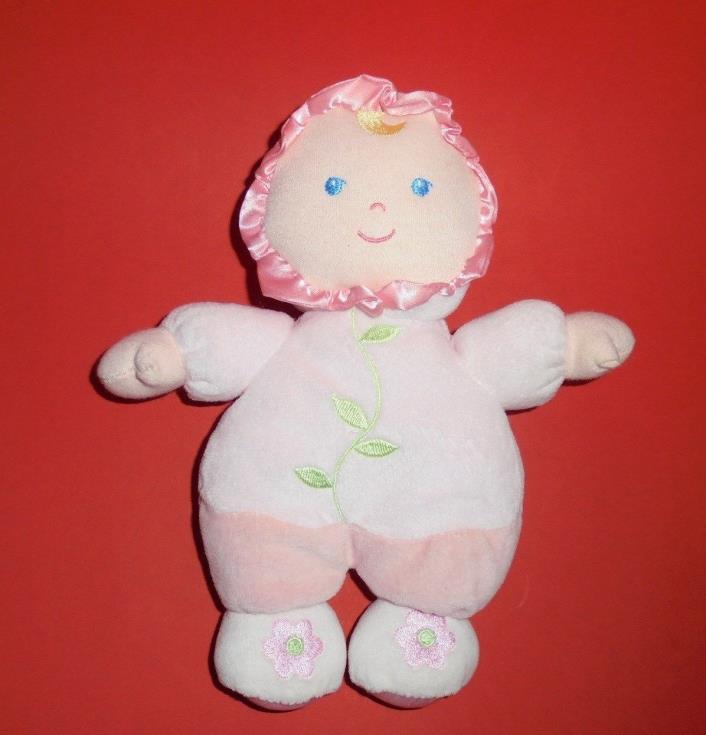 KIDS Preferred Pink Plush Baby Doll Rattle Stuffed Lovey Toy Sewn Eyes