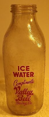Vintage ICE WATER QUART BOTTLE Compliments of VALLEY BELL DAIRY Co Charleston WV