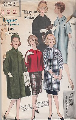 Vintage Sewing Pattern Vogue 5343 Coat Young Fashionables 1960s Size 10