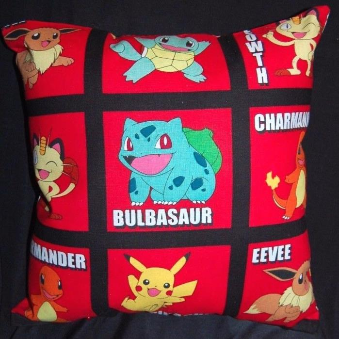 NEW HANDMADE POKEMON PIKACHU BULBASAUR CHARMANDER MEOWTH EEVEE PILLOW ~ RED