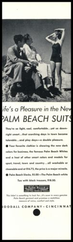 1937 Goodall Company Cincinnati Ohio Original AD Palm Beach Suits Vintage Photo