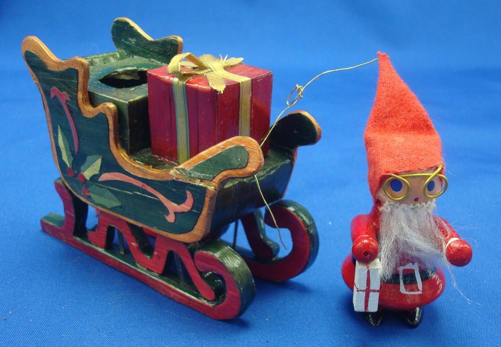 vintage bamboo Christmas sleigh and Santa figurine hand painted