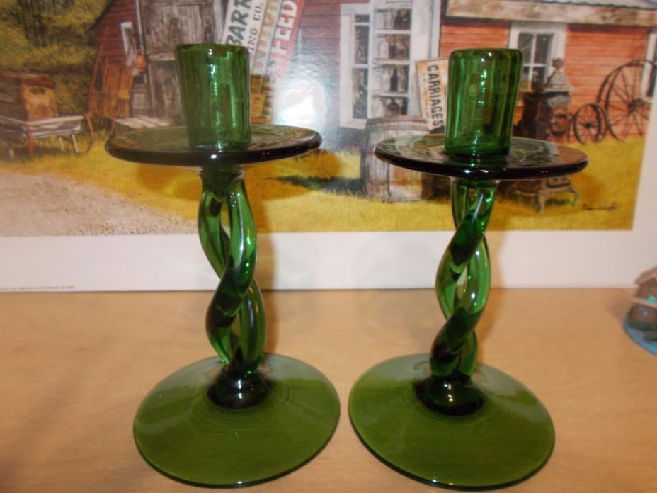 vintage green twisted glass candle sticks 8