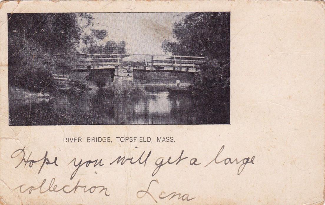POSTCARD - River Bridge Topsfield, Mass.