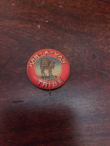 Cello Pinback Button KAR-A-VAN TRIBE COFFEE Camel Pictorial 22mm pin ME1525