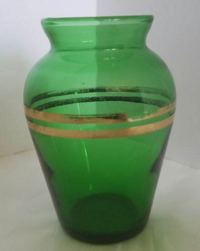 Vintage Emerald Green Miniature Vase with Gold double band