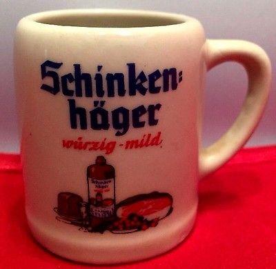 SCHINKEN HAGER GERMANY Collectible Miniature Beer Stein Mug Shot Glass