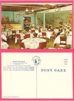 Vintage postcard MANOR STEAK HOUSE, Middlesex, NJ 1960s  Unposted