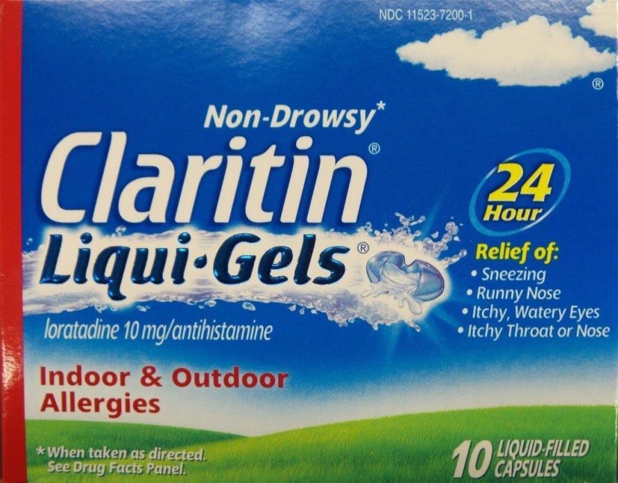 Claritin Non-Drowsy Liqui-Gels 24 hr Relief 10 Capsules 10 mg Loratadine 8/2017