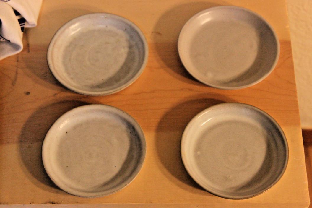 Vintage Marshall Martz Ceramic Dishes Set of 4 Pottery Small Plates Milky Glaze
