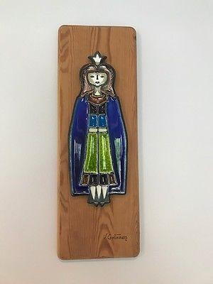 Porsgrund Norway Plaque Mounted on Wood Princess