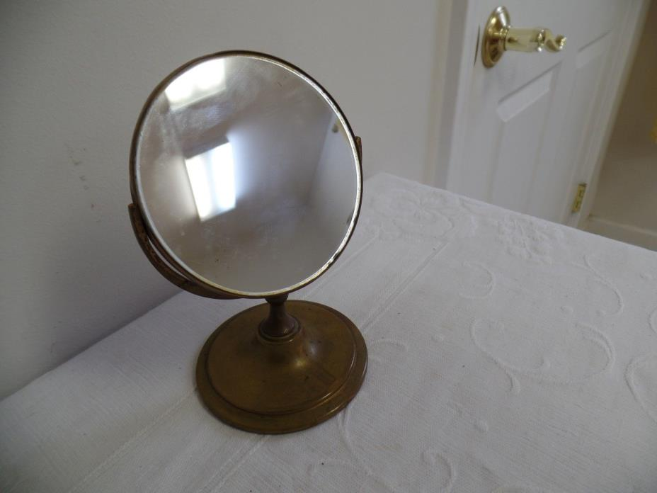 Vintage Brass Table Top Pedestal Vanity Shaving Mirror