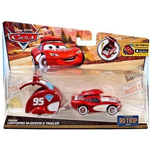 Disney Cars Road Trip Diecast Lightning McQueen Trailer,Set
