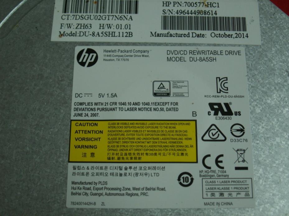 HP ENVY PAVILION DVD/CD RW DU-8A5SH Optical Drive 700577-HC1