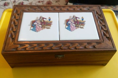 Box Wood Tile Glove Jewelry  Dresser