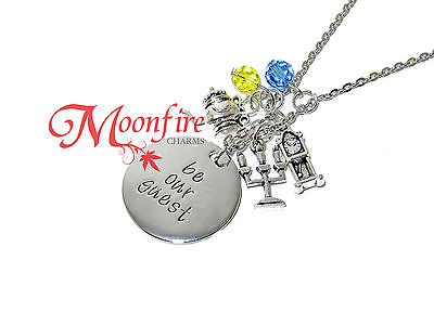 BEAUTY AND THE BEAST BE OUR GUEST PENDANT NECKLACE CLOCK CANDELABRA TEAPOT CHARM