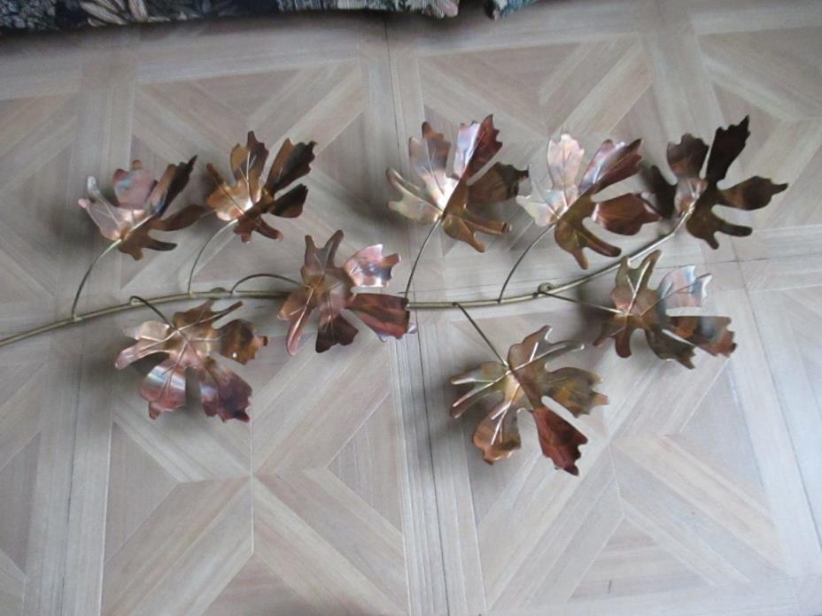 Vintage Home Interiors Copper Metal Autumn Leaf Leaves Wall Decor 1piece 9 leaf