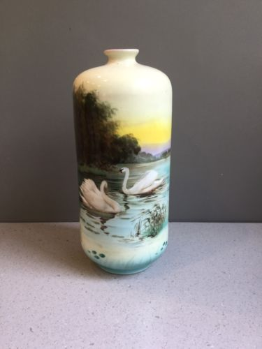 Antique Royal Bayreuth Bavaria Hand Painted Swans Vase Blue Mark 8.5