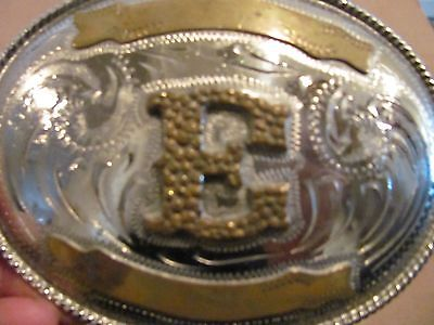Large Oval Mexico Alpaca Brass & Silver Plated Initial