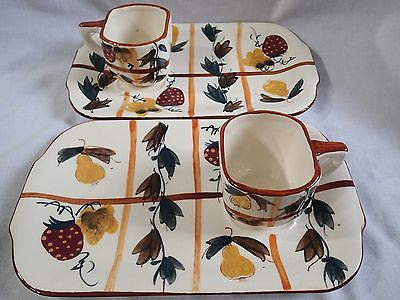 Snack Trays Cups Hand Painted Nasco Japan Strawberries Pears Set of 2 Matching