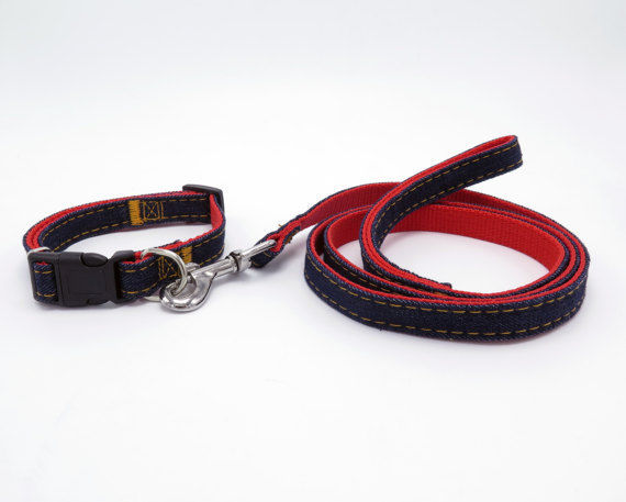 Denim with Red Backing Dog Collar and Matching Leash Set - Size Small
