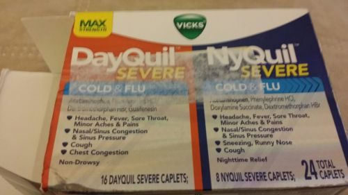Vicks DayQuil & NyQuil Severe Cold & Flu Combo 24 Total Caplets Exp: 06/2017!!