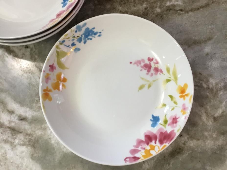 Floral Bouquet Pasta Bowls. 8 Inch Portmeirion Studio. Set Of 4. New.