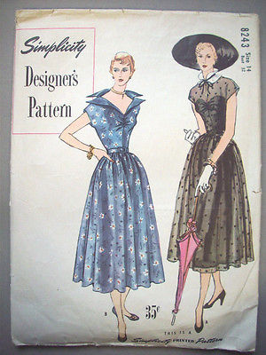 1950's Simplicity Designer's fancy neckline evening dress pattern 8243 Size 14