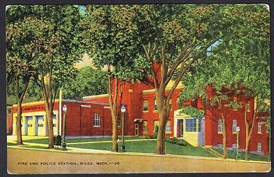 POLICE & FIRE STATION Niles Michigan Postcard 3691