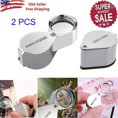 2 X Universal Hot 30x 21mm Jewelers Eye Loupe Magnifier Magnifying Glass From US