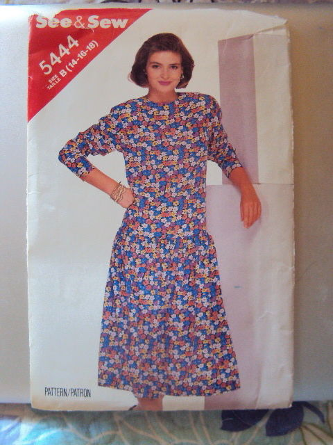 Butterick Miss Dress Pattern 5444 UNCUT14-18 no sleeves Vintage Free Shipping