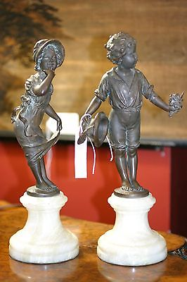 ANTIQUE PAIR OF FRENCH PATINATED BRONZE STATUE FIGURIINE MARBLE COUPLE C.1880