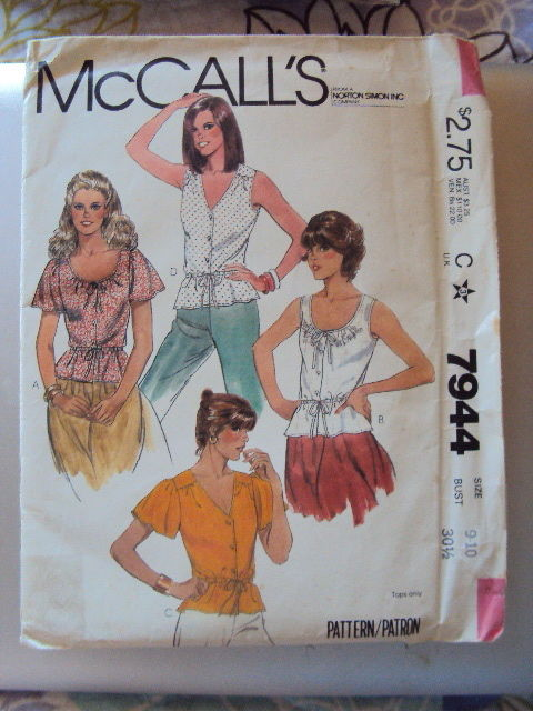 McCalls Tops Blouses Pattern 7944 UNCUT 9-10 Vintage Free Shipping