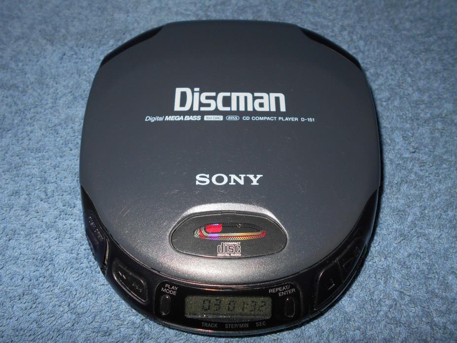 SONY DISCMAN D-151 PERSONAL PORTABLE CD PLAYER W/ MEGA BASS 1BIT DAC & AVLS NICE