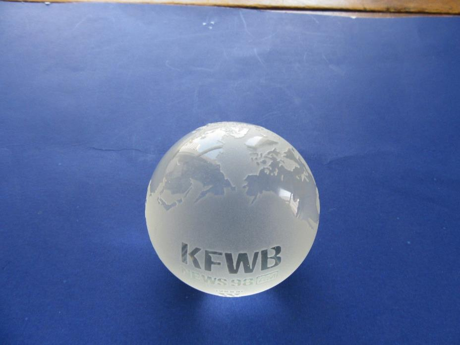 KFWB News 98 Radio Crystal World - Engraved