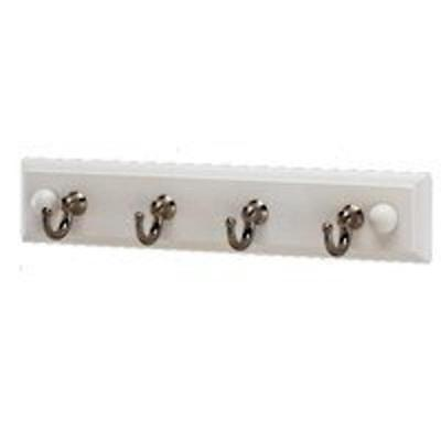 White 4-Hook Wood Back Hanger Mintcraft Robe Hook 1118B-NI-4 045734942271