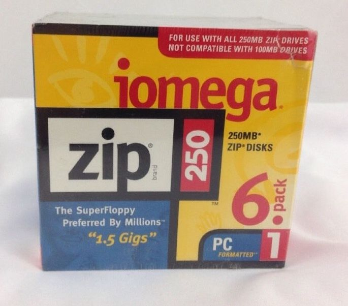 Nearly New Sealed iomega Zip250 250MB ZIP DISKS 6 PACK PC FORMATTED DISCONTINUED