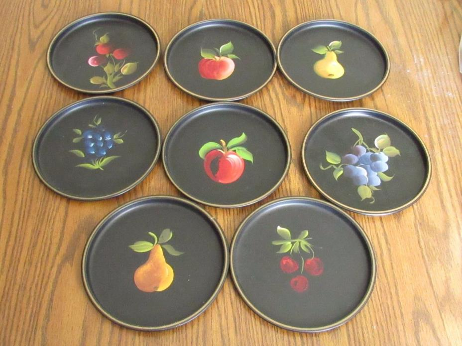 8 Nashco Metal Plates,Hand Painted Fruit Trays,8